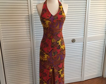1970s paisley psychedelic halter dress