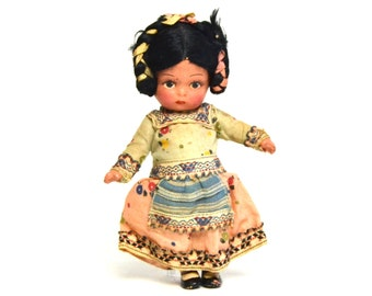 vintage peruvian / indian composition doll, antique doll, collectible composition doll