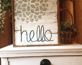 White rustic hello sign -w/ gray dahlia and navy lettering on pallet wood
