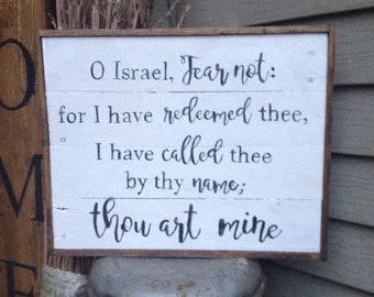 Rustic I have redeemed thee pallet wood sign - Isaiah 43:1 farmhouse style