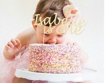 Birthday Cake Topper any Name any Age - Custom First Birthday Cake Topper. One Year Old. One Glitter Topper. 1 Cake Topper. Gold Glitter.