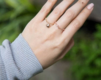 Rose Gold Filled Cubic Zirconia Chain Ring