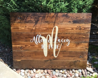 Wood wedding guest signing board - guest book - rustic wedding
