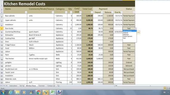 kitchen remodel costs calculator excel template renovation