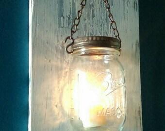 Sale! Set of two/Mason Jar Sconce/Mason Jar Candle Sconces/Rustic Mason Jar Candle Sconce/ Wall Decor
