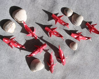 Lot of 9 origami whales