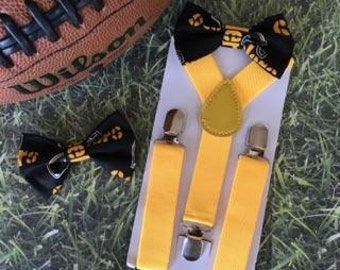 Suspender & Bow tie Set/ Steelers Bow tie/ Pittsburgh Steelers Bow tie/ Steelers Bowtie/ Football/ NFL Football/ NFL Bow tie/ Steelers