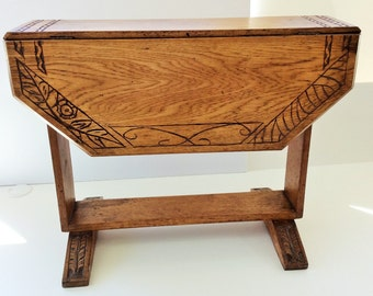 Antique Handmade and Hand Carved Drop Leaf Side Table