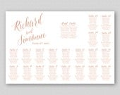 Rose Gold Wedding Seating Chart Sign Poster Board, Printable Wedding Table Plan, Personalized Digital Template - Rose Gold Caligraphy