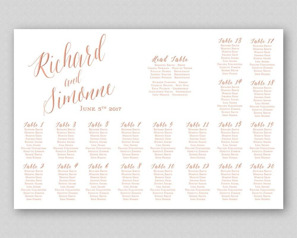 Rose Gold Wedding Seating Chart Sign Poster Board Printable Wedding
