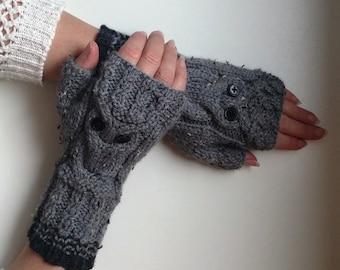 Gray Owl mittens