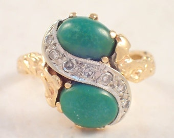 "14K Yellow Gold Turquoise and Diamond ""Cortessa"" Ring"