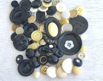 70 Vintage Button Lots - Dark Brown,Black and Gold Set Lot #47