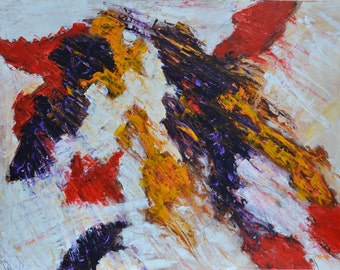 """Expressive abstract acrylic painting. Title """"Fighting Birds""""."""