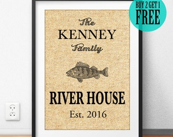 Personalized Family Name Sign, Burlap Print, River House Decor, Rustic Home Decor, Vintage Wall Art, Housewarming Gift, Anniversary, CM51