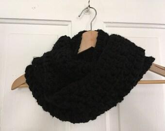 Crochet Chunky Infinity Scarf in Black