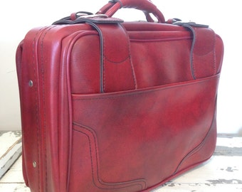 Bag Suitcase folder in sky red 80s