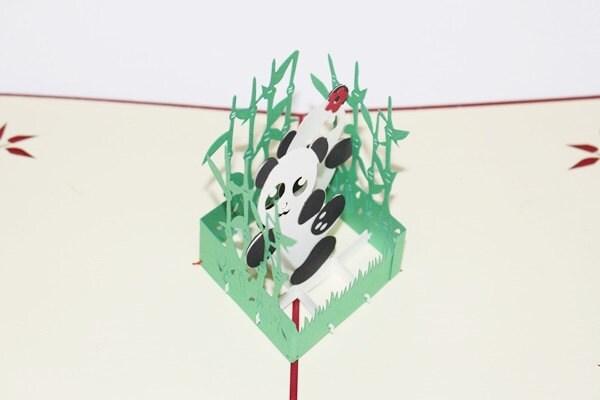 3D Love Pandas Pop Up Card, Pop Up Greeting Card, Happy