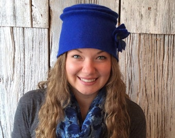 Felt hat, wet felted hat, royal blue hat, bucket hat, felt hat for women, felt flower - 'Left Bank'