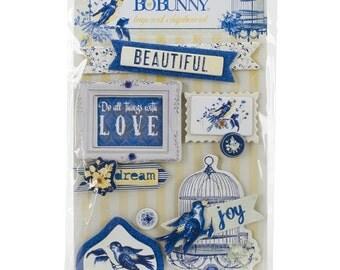 Bo Bunny Genevieve Layered Chipboard - Genevieve Layered Chipboard - Decorative Chipboard - Blue and Yellow Chipboard Embellishments 4-058