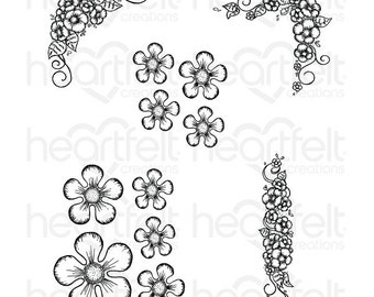 Heartfelt Creations Berry Blossoms Cling Stamp - Cling Stamp - Blossom Stamp Set - Berry Blossoms Stamp Set - Berry Cafe Stamp Set