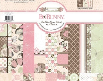 Bo Bunny Primrose Collection Pack - Primrose Paper - 12x12 - Card Stock Paper - Cardstock Paper - Pink And Blue Cardstock - Primrose Paper