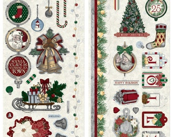 Bo Bunny Tis The Season Chipboard - Seasonal Chipboard - Decorative Chipboard - Red and Green Chipboard Embellishment - Chipboard - 4-013