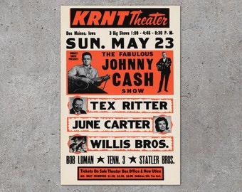 Vintage Johnny Cash Concert Poster Print - 1960's Concert Poster Art