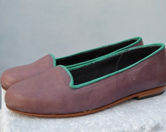 Handmade Flat Leather Shoe, Slippers
