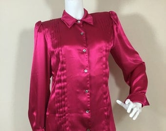 Vintage 1980s Does The 1940s Pink Satin Blouse 10