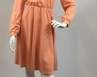 Berketex Dandi Vintage 1970s Peach Paisley Shirt Dress Tie Neck 10 36