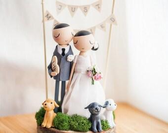 Rustic Wedding Cake Topper,Cake Topper,Wooden Topper,Wooden Peg Doll,Wedding Gift,Personalized,Boho wedding cake topper