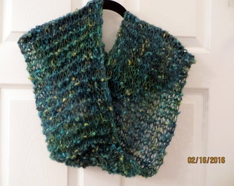 Green Mohair Blend Infinity Scarf