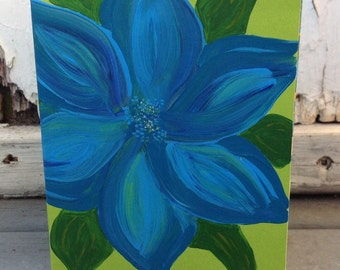 Blue Flower Reversible Greeting/Art Card