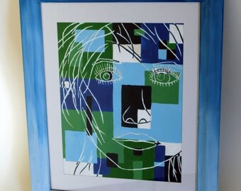Original Painting || Girl's Face || Blue and Green || Original, Framed || Acrylic