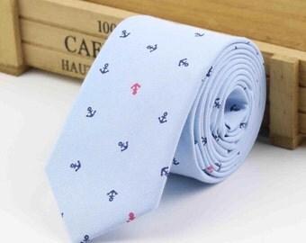 Blue Anchor Tie Boyfriend Gift Men's Gift Anniversary Gift for Men Husband Gift Wedding Gift For Him Groomsmen Gift for Friend Gift Ideas