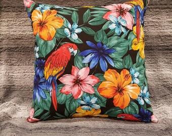 """Tropical print cushion cover, 18"""", 45x45, parrot print, hibiscus print, tropical pillow, hubiscus and parrot, tropical cushion."""