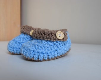 Crochet baby booties, baby shoes, 0 to 3 month baby shoes, 6 to 9 month baby shoes, baby booties for infants, blue boy booties, boy shoes