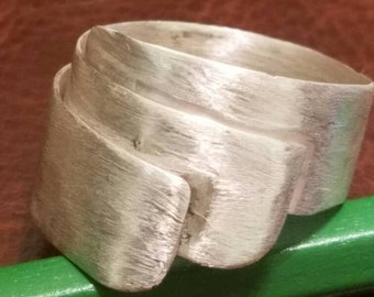 Brushed sterling silver wrap band
