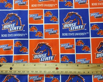 Boise State Fabric, Yardage, by the yard or Fat Quarter, FQ, Buster Bronco, BSU, Collegiate Fabric, Boise State University, Orange and Blue