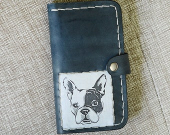iPhone 6 Case with Strap, iPhone 6S Leather Case Wallet, iPhone 6 Leather Case Wallet,Gift for , Dog Case for iphone , French Bulldog Case