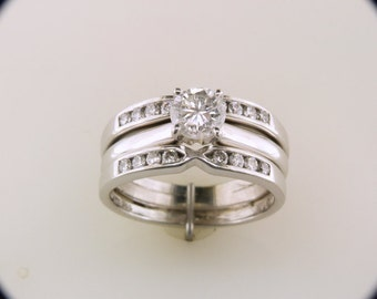 Natural 1.00ct Diamond 14k White Gold Engagement And Diamond Guard Set