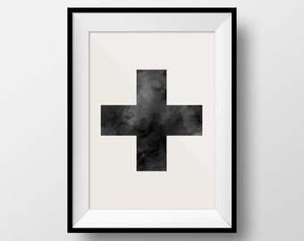 Cross Print, Cross Poster, Texture Cross, Black and White, X Print, Swiss Cross, Minimalist Print, Instant Download, Large Print