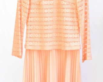 Two-Textured Peach Dress