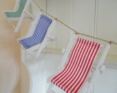Deckchair Bunting. Home Decor, Bedroom, Bathroom, Beach, Coastal, Seaside, Nautical, Beach Hut Chic, Quirky,Wall Art, Mixed Media, Wedding.