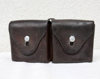Swiss Army Leather Ammunition Bag, Beltbag from 1937; Pre-WW2 Era Swiss Army Ammo Pouch / S.Fäh, Benken #2