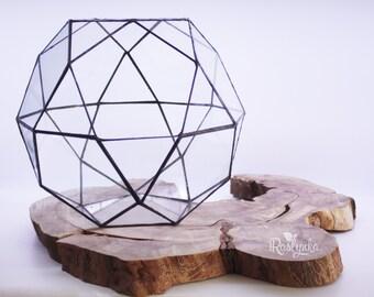 Geometric Terrarium / Icosidodecahedron / Stained Glass Terrarium / Handmade Glass Planter / Stained glass vase