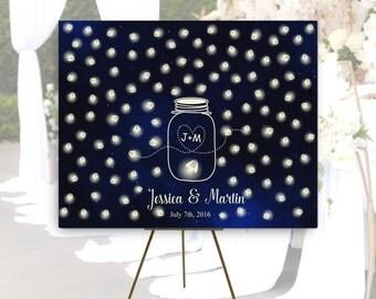 Wedding Guest book Alternative canvas,Mason Jar Wedding Guestbook,Mason jar with fireflies,Shabby Chic Wedding, Rustic Wedding, Starry Night