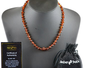 Baltic Amber Adult Necklace, Cognac Color, 47 cm (18.5 inches) , Made from Polished Baroque Amber Beads