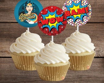 Wonder Woman Cupcake Toppers, Printable Wonder Woman Party Decoration, Instant Download, Wonder Woman Party, Wonder Woman Birthday
